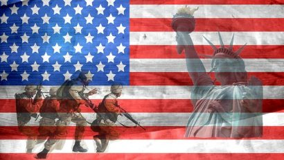 Army, Marines, Statue of Liberty, USA Flag